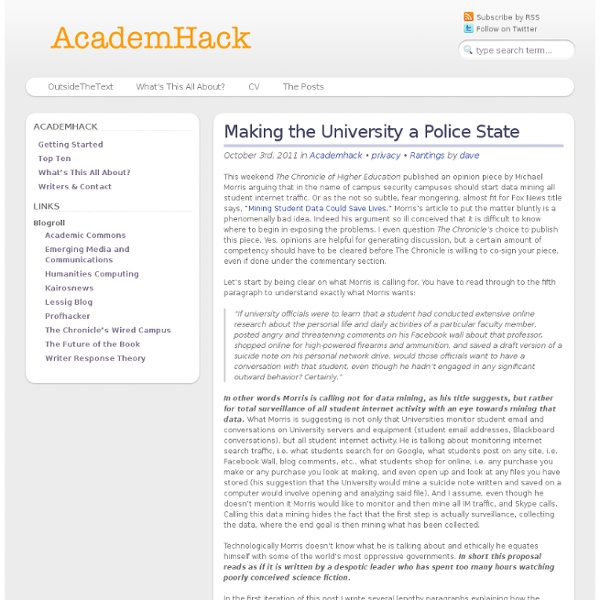 Making the University a Police State