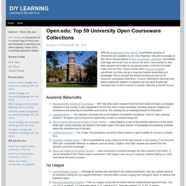 Open.edu: Top 50 University Open Courseware Collections