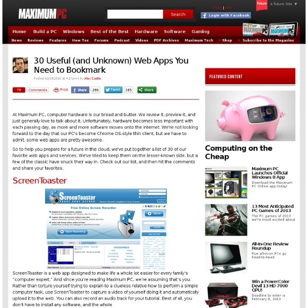 30 Useful (and Unknown) Web Apps You Need to Bookmark