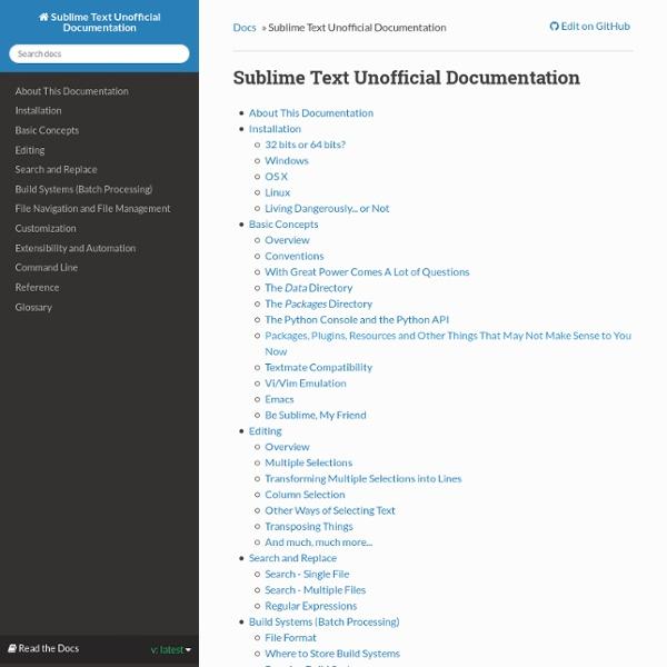 Sublime Text Unofficial Documentation — Sublime Text Unofficial Documentation