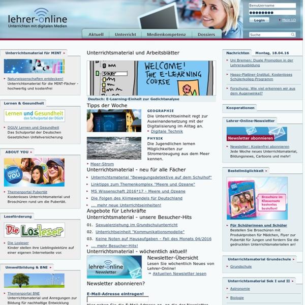Unterrichtsmaterial, Arbeitsblätter und mehr - kostenlos, praxisorientiert, lehrplanrelevant - Lehrer-Online