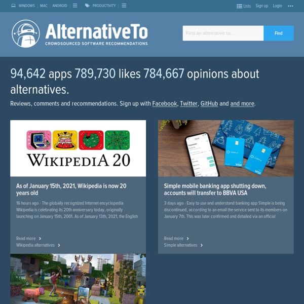 AlternativeTo - Social Software Recommendations