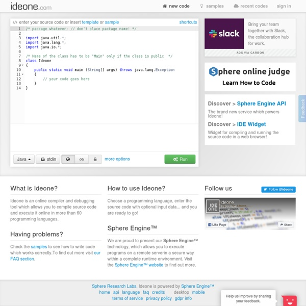 Online IDE &Debugging Tool - StumbleUpon - Pentadactyl