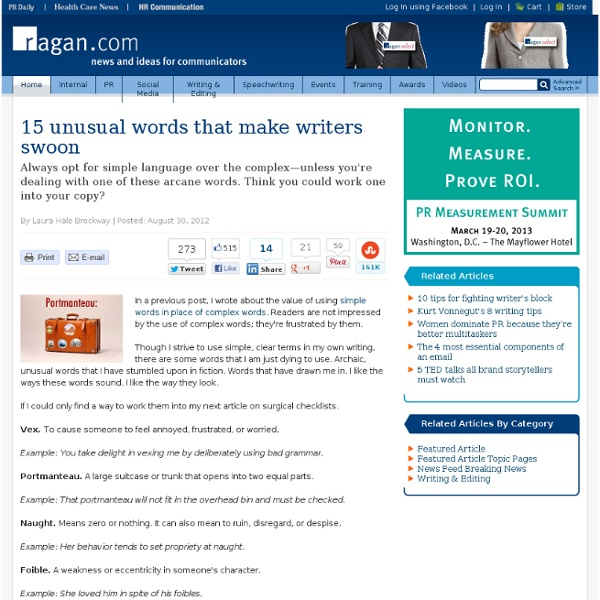 15 unusual words that make writers swoon | Pearltrees