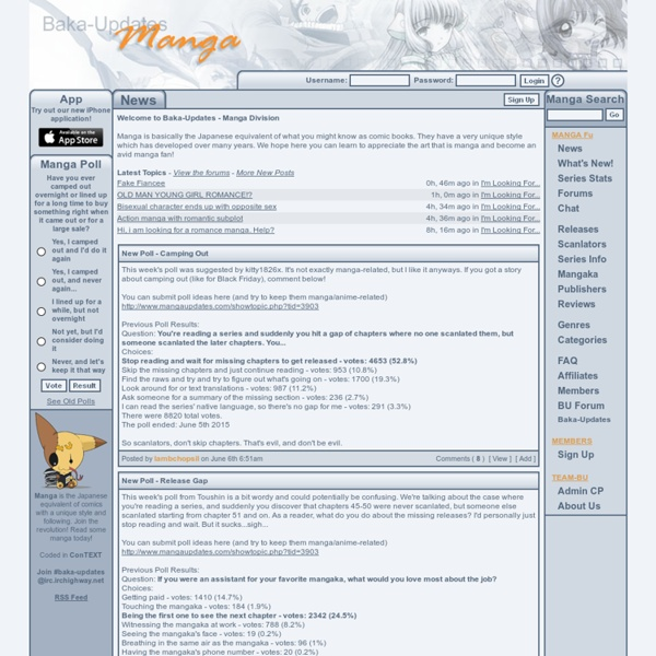 Baka-Updates Manga - Your Reviews, Series, Scanlator and Latest Manga Release Resource