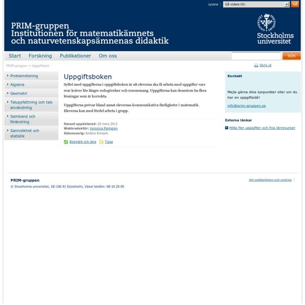 Uppgiftsbok - PRIM-gruppen