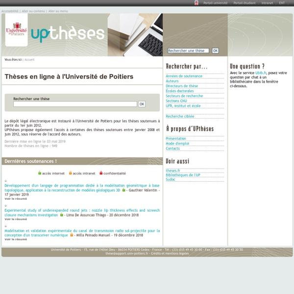 UPthèses - Les thèses en ligne de l'Université de Poitiers