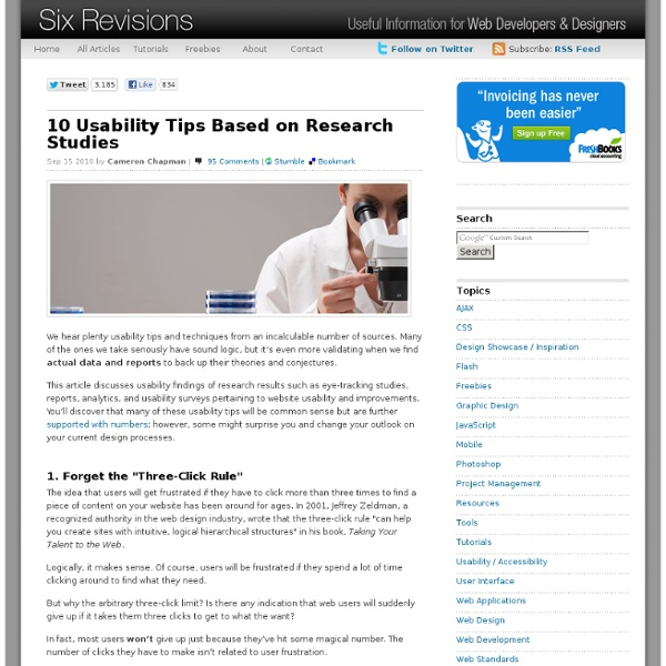 10 Usability Tips Based on Research Studies