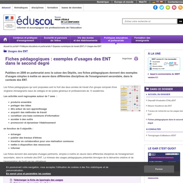 Usages des ENT - Fiches pédagogiques dans le second degré