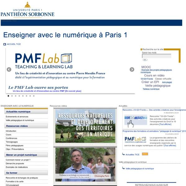 TICE - Université Paris 1 - Usages du numérique dans l'enseignement