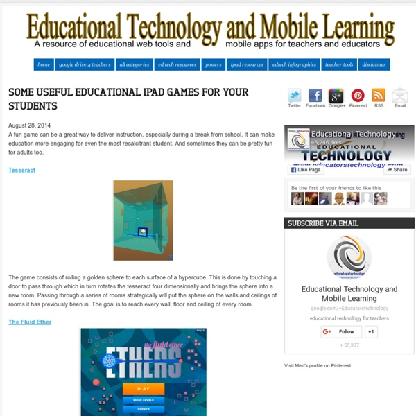 Some Useful Educational iPad Games for Your Students