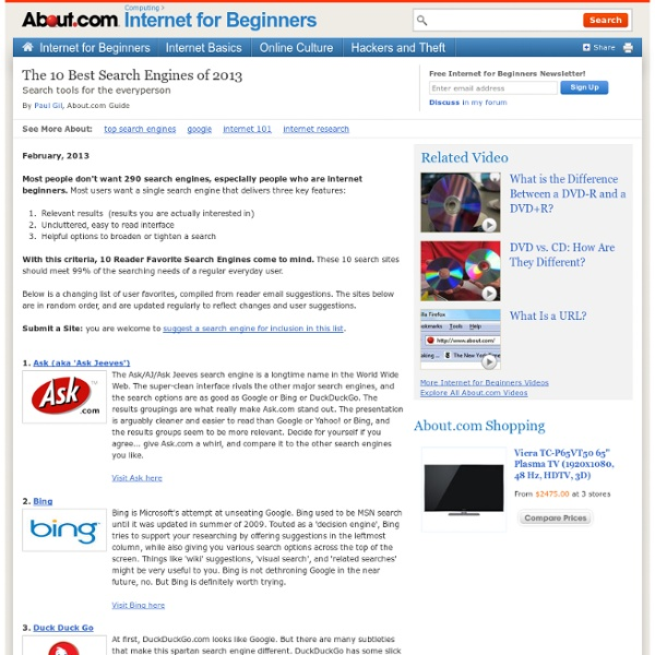 The 10 Most Useful Search Engines for Beginners, 2012