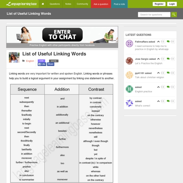 List of Useful Linking Words - learn English,words