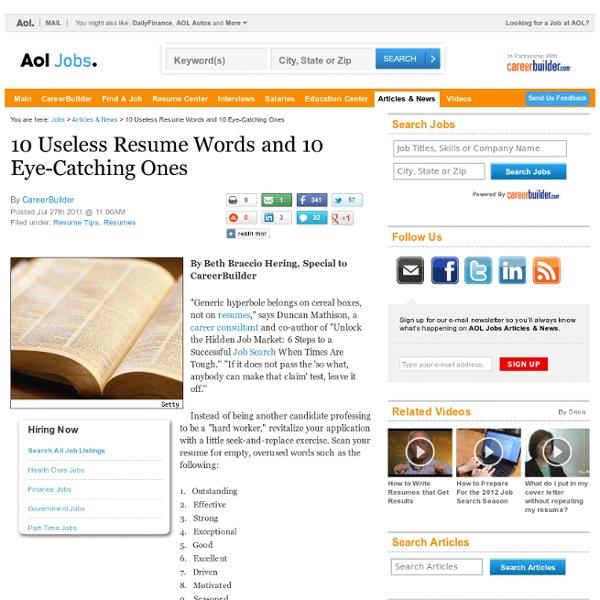 ten useless resume words and ten eye catching ones