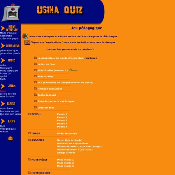 Usina Quiz index jeu pedagogique