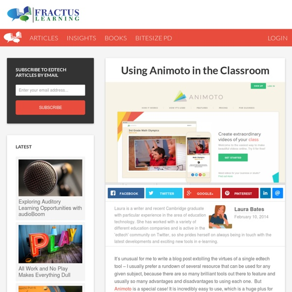 Using Animoto in the Classroom