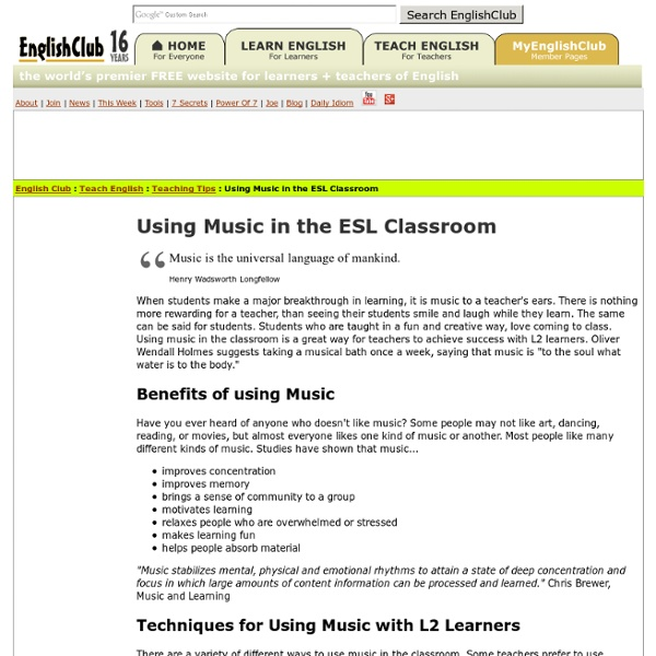 Using Music in the ESL Classroom