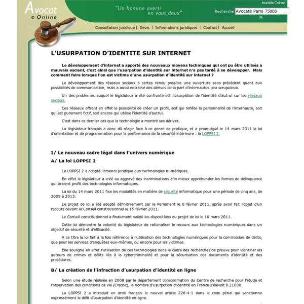 L'USURPATION D'IDENTITE SUR INTERNET