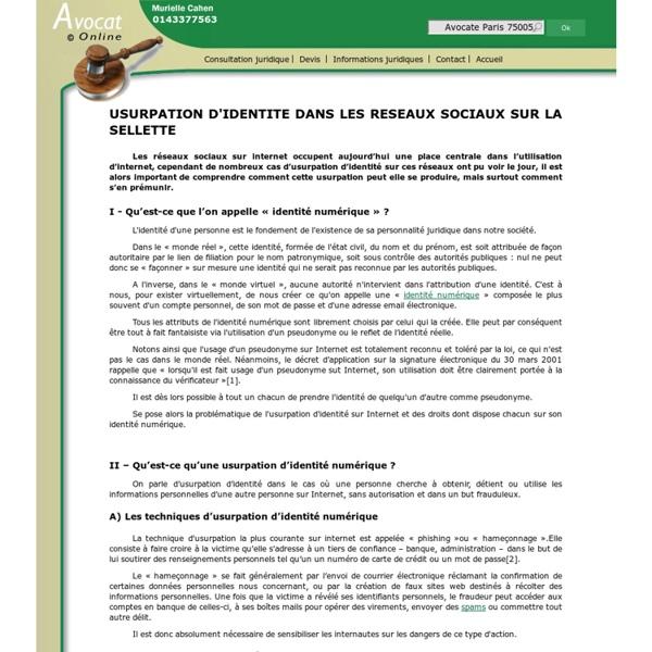 USURPATION D'IDENTITE DANS LES RESEAUX SOCIAUX SUR LA SELLETTE