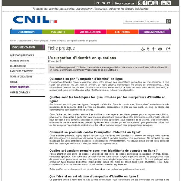 Quelques définitions données par la CNIL