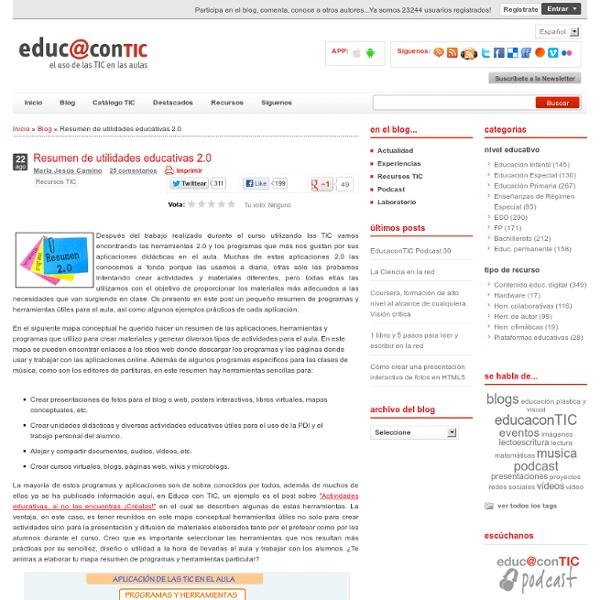 Resumen de utilidades educativas 2.0