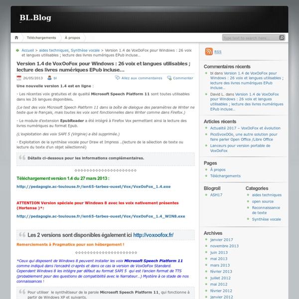 Version 1.4 de VoxOoFox pour Windows : 26 voix et langues utilisables ; lecture des livres numériques EPub incluse…