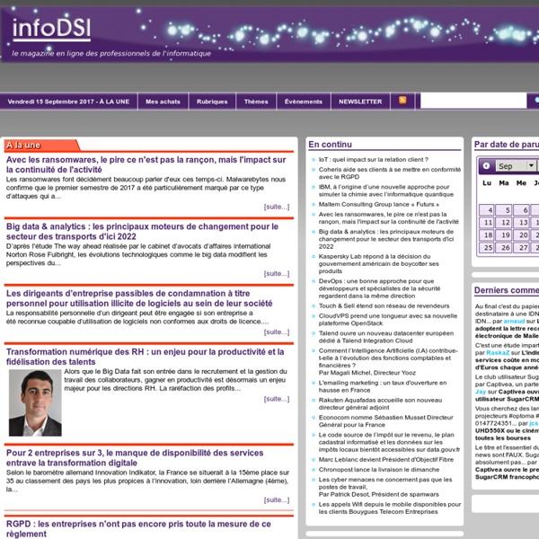 InfoDSI : Le quotidien des utilisateurs de l'informatique en entreprise
