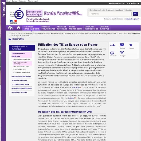 Utilisation des TIC en Europe et en France