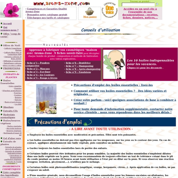 Utilisation des huiles essentielles Aroma-Zone