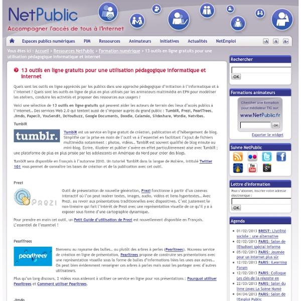 13 outils en ligne gratuits pour une utilisation pédagogique informatique et internet