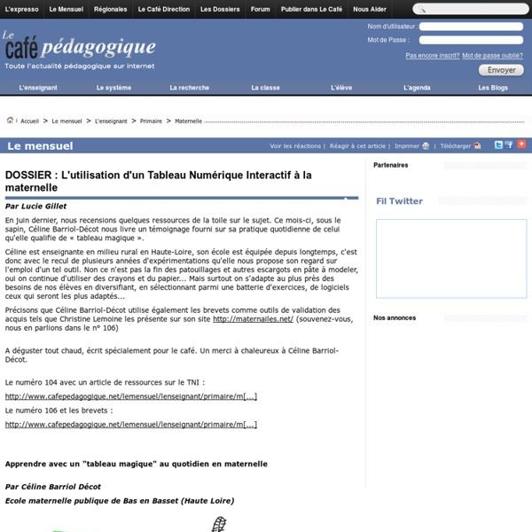 DOSSIER : L'utilisation d'un Tableau Numérique Interactif à la maternelle