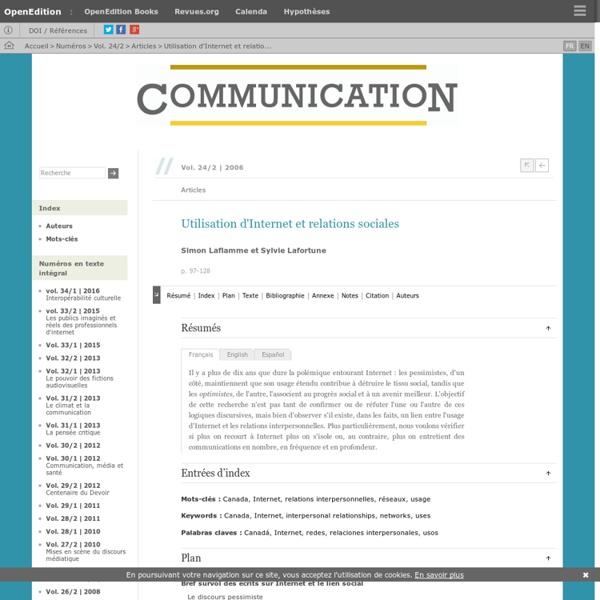 Utilisation d'Internet et relations sociales