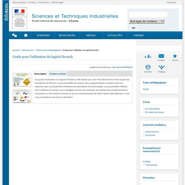 Guide pour l'utilisation du logiciel Scratch - Éduscol STI