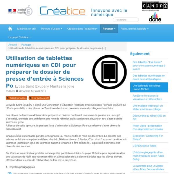 Utilisation de tablettes numériques en CDI pour préparer le dossier de presse d'entrée à Sciences Po