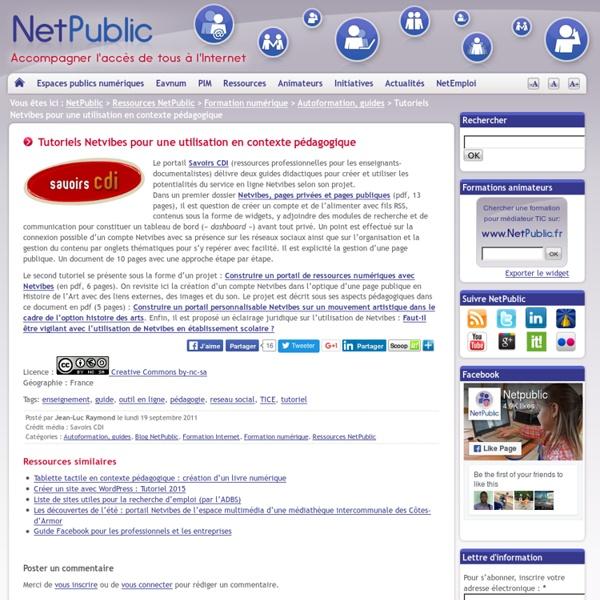 Tutoriels Netvibes pour une utilisation en contexte pédagogique