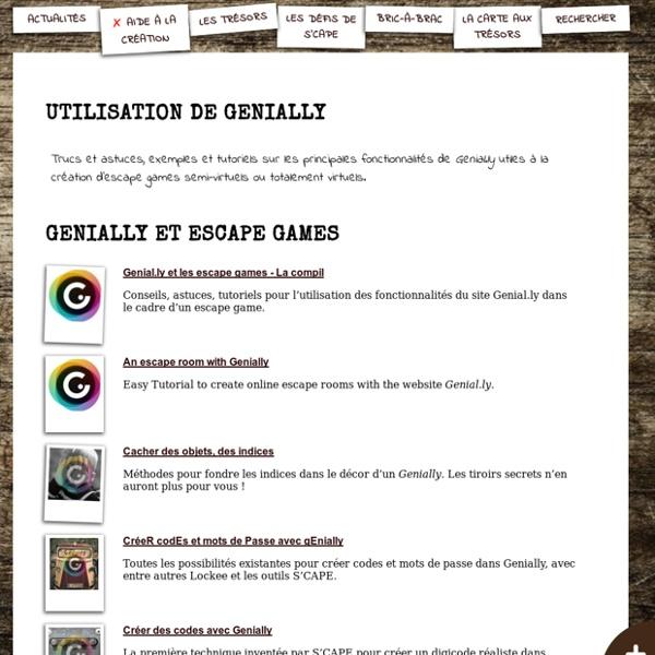 S'CAPE-Utilisation de Genially Aide pour créer son escape game ou jeu d'évasion pédagogique