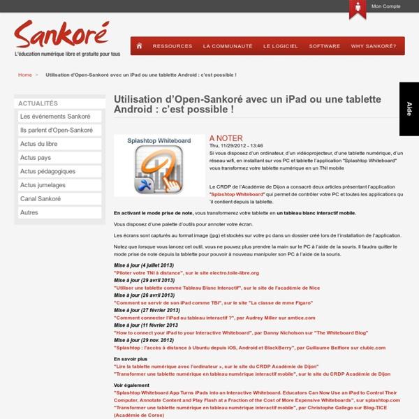 Utilisation d'Open-Sankoré avec un iPad ou une tablette Android : c'est possible !