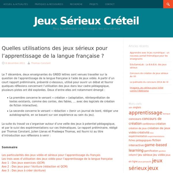Quelles utilisations des jeux sérieux pour l'apprentissage de la langue française ?