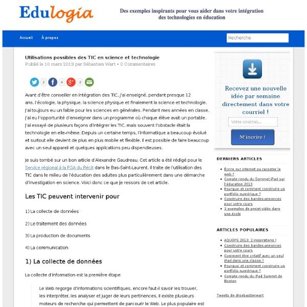 Utilisations possibles des TIC en science et technologie