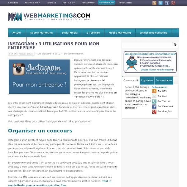 Instagram : 3 utilisations pour mon entreprise