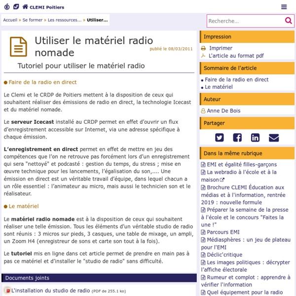 Utiliser le matériel radio nomade- CLEMI