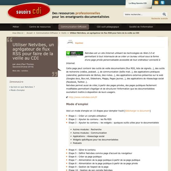 Utiliser Netvibes, un agrégateur de flux RSS pour faire de la veille au CDI