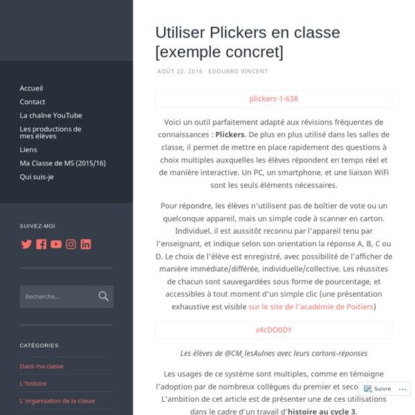 Utiliser Plickers en classe [exemple concret]