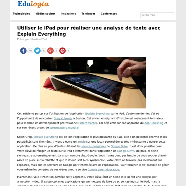 Réaliser une analyse de texte avec Explain Everything - Edulogia