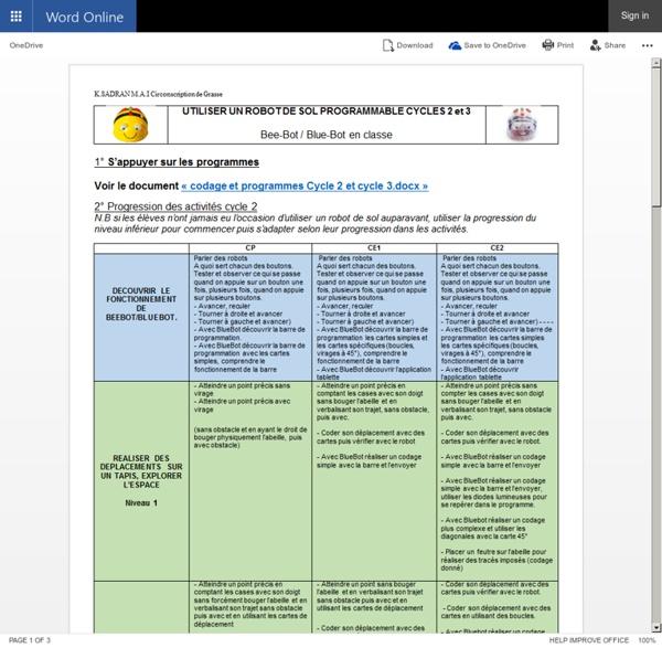 UTILISER UN ROBOT DE SOL PROGRAMMABLE CYCLE 2 et 3.docx - Microsoft Word Online