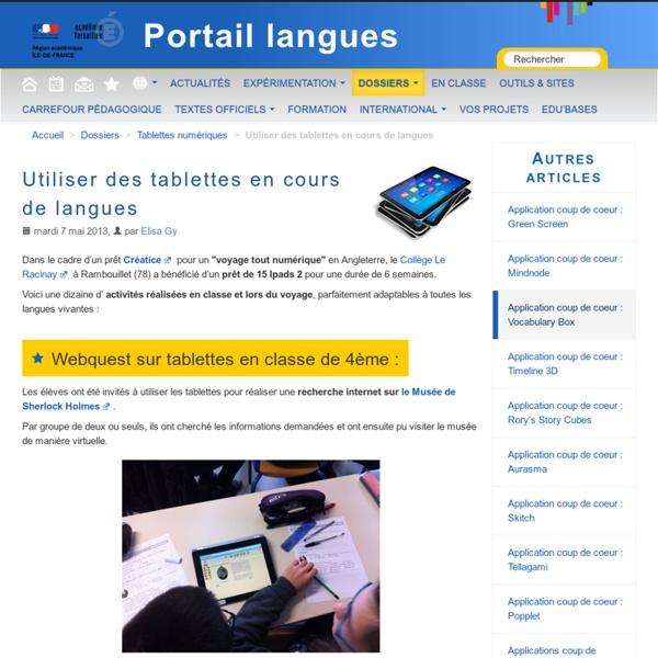 Utiliser des tablettes en cours de langues
