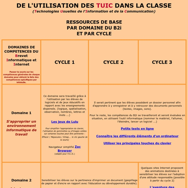 Utiliser les TUIC en classe (Thierry BORDES - référent TICE)