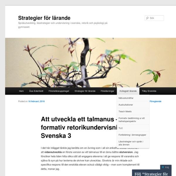 Att utveckla ett talmanus – formativ retorikundervisning i Svenska 3