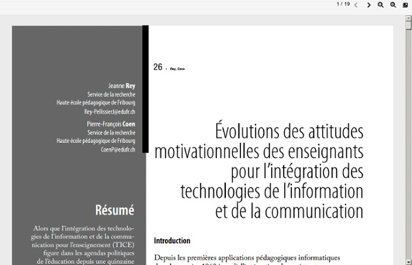 Évolutions des attitudesmotivationnelles des enseignantspour l'intégration destechnologies de l'informationet de la communicatio