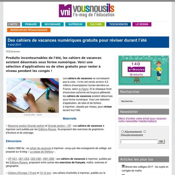 Des cahiers de vacances numériques gratuits pour réviser durant l'été